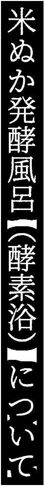 米ぬか発酵風呂(酵素浴)について